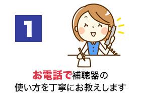 1.お電話で補聴器の使い方を丁寧にお教えします