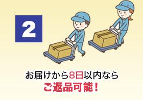 2.お届けから8日以内ならご返品可能!