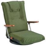 【高い背もたれに体をあずけてリラックス 安心の日本製】肘掛付き回転座椅子